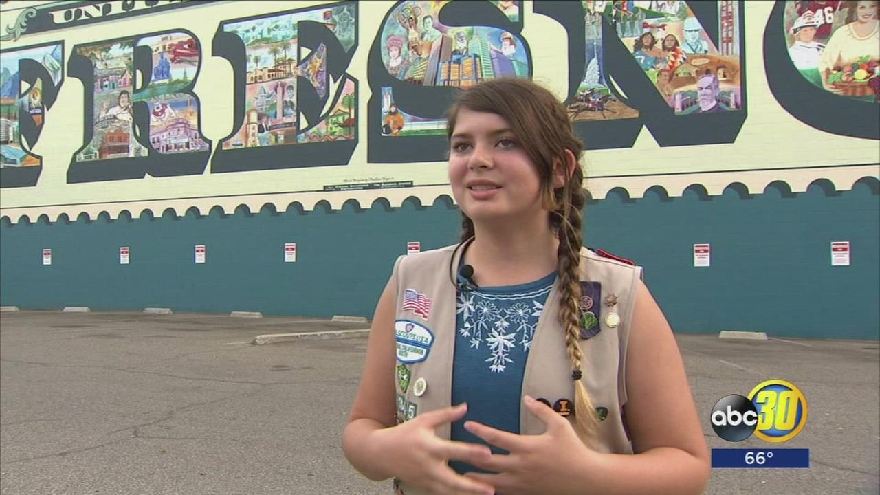 A local Girl Scout received honors for creating an art guide for Downtown Fresno