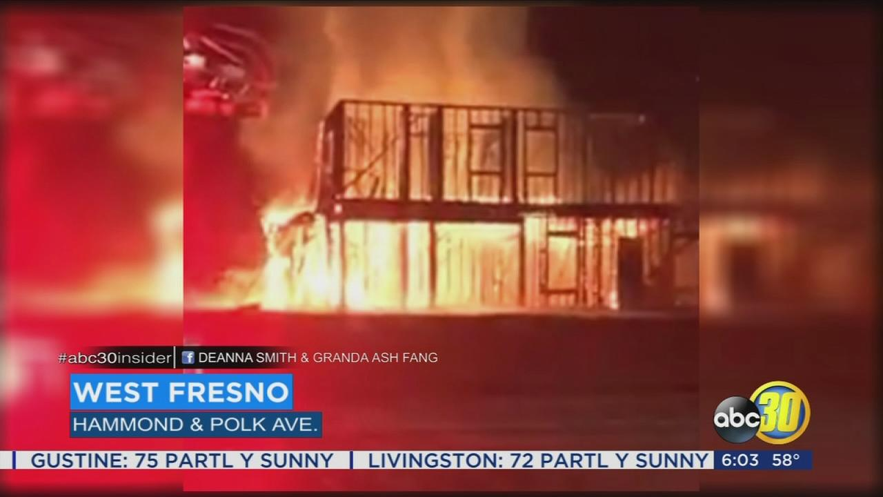 Two Fresno homes under construction go up on flames