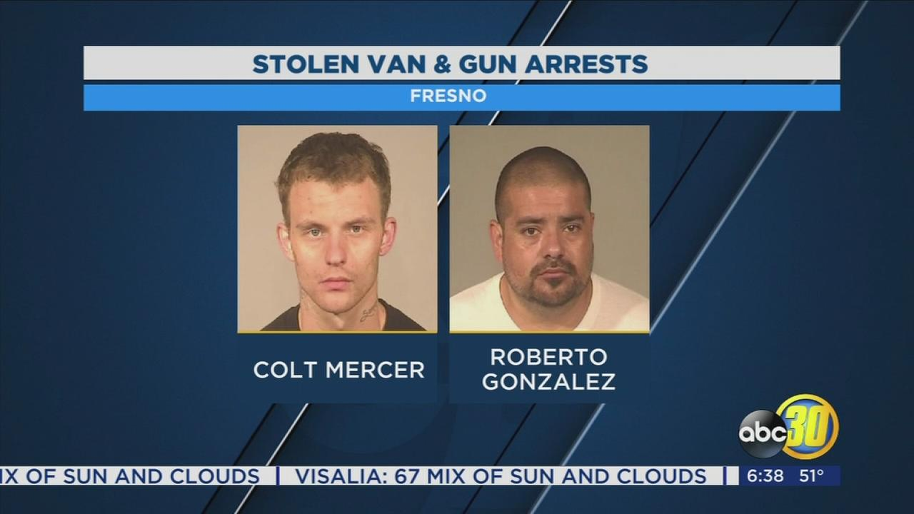 2 men arrested after being accused of stealing van and gun