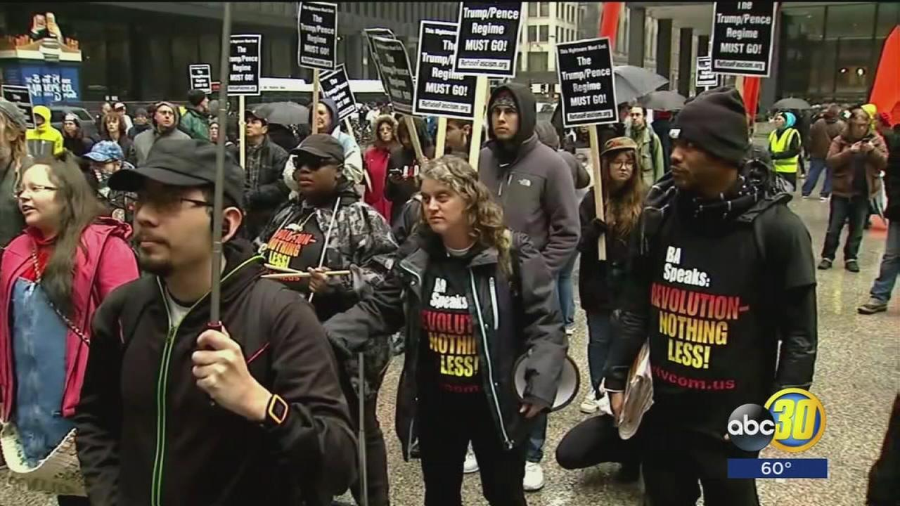 Protestors fill the streets calling for removal of President Trump and VP Mike Pence
