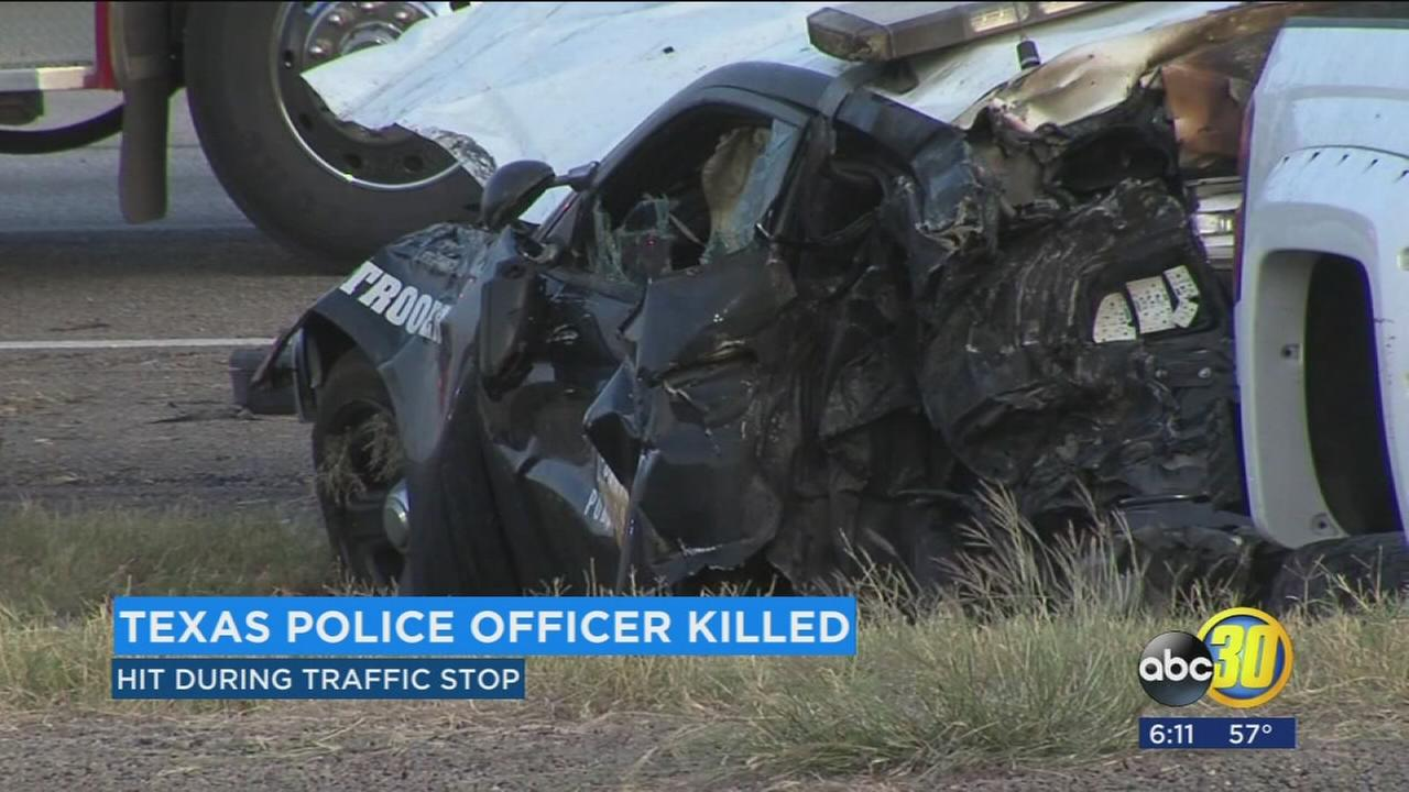 Texas Police Officer was killed Saturday in a fiery crash during a traffic stop