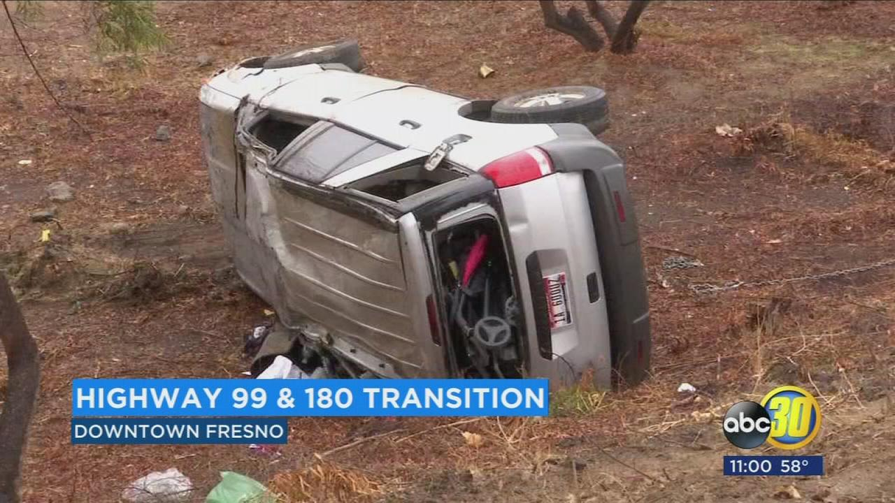 Rain slicked roads cause multiple crashes on freeways in Fresno