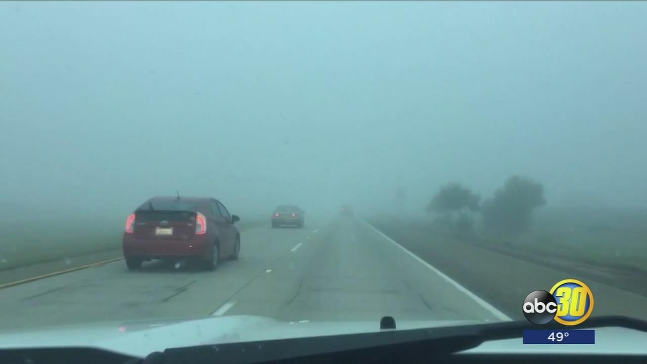 Thick fog rolls into Central Valley, dropping visibility to a quarter mile already in some places