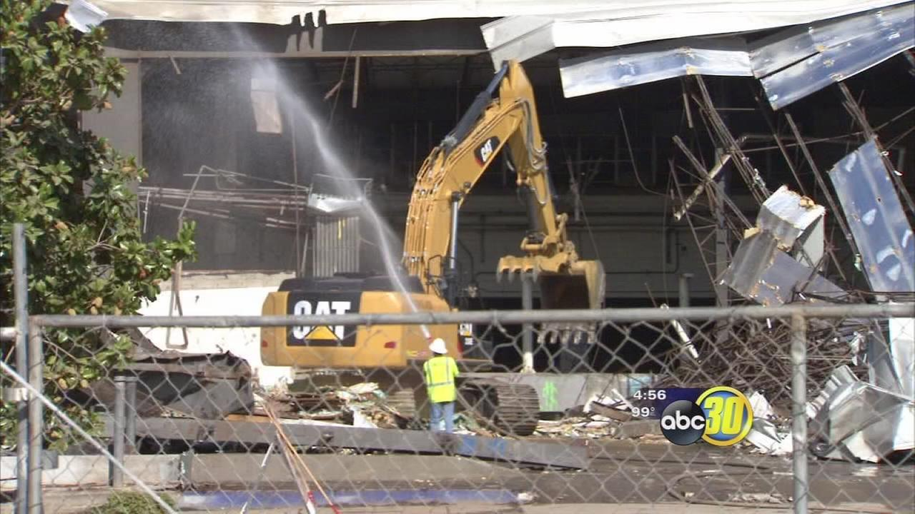 Abandoned Downtown Fresno building demolished for high-speed rail