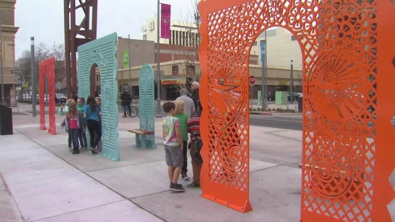 County officials unveil Fulton Street art installation