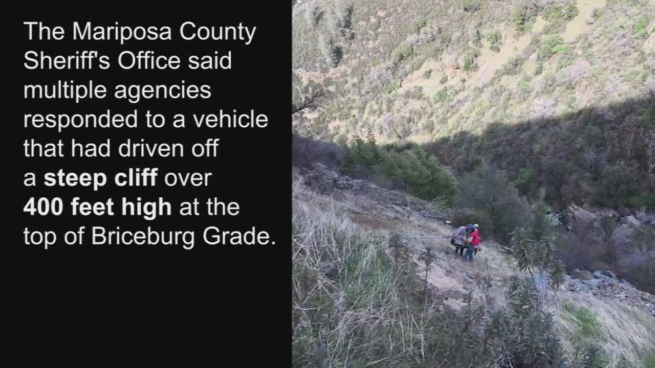 Multiple agencies work to rescue pinned driver at the bottom of a cliff in Mariposa County