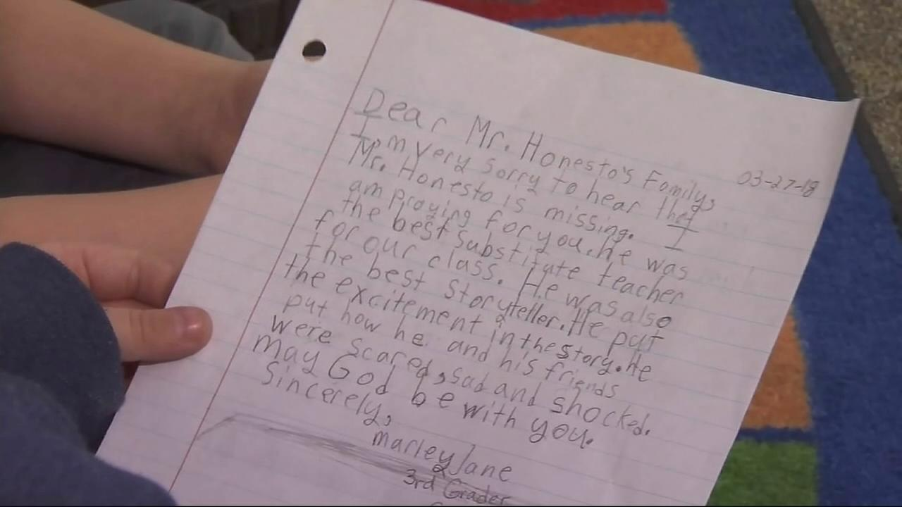 Letters of Hope after teacher goes missing in floods