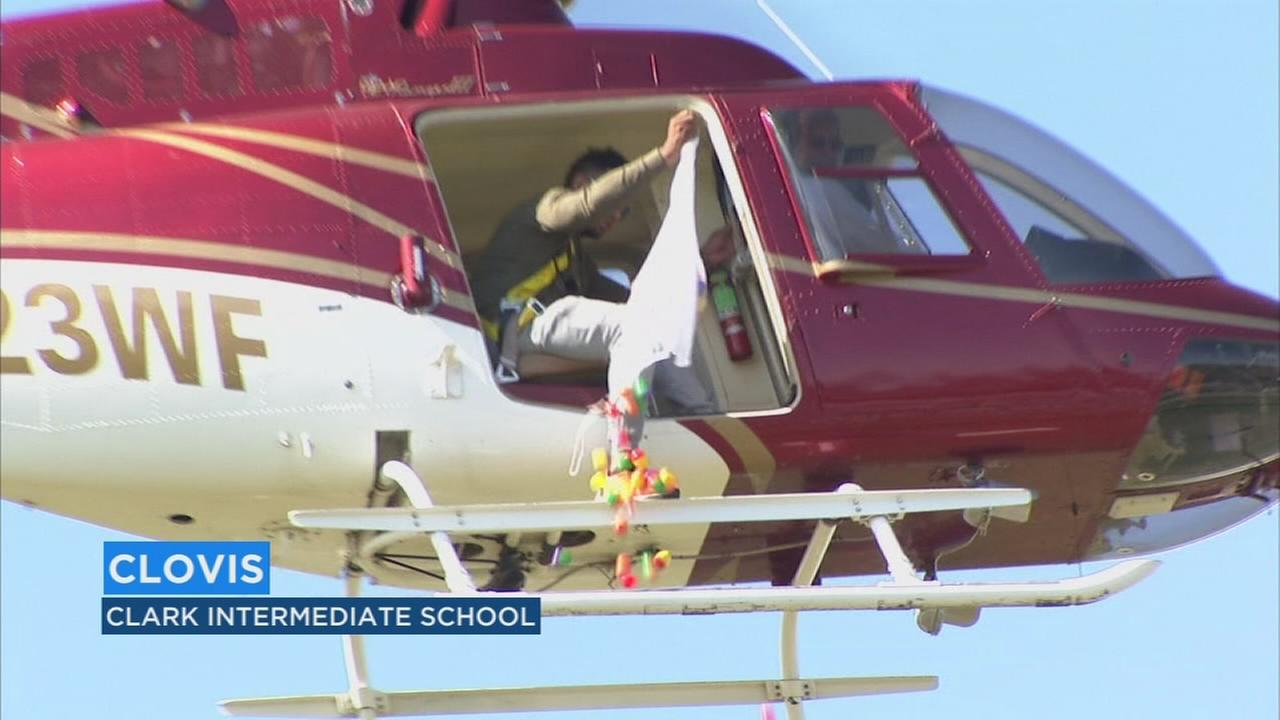 Helicopter drops 10,000 Easter eggs for kids in Clovis