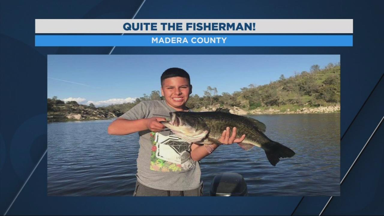 Local boy catches 11 pound bass at Eastman Lake in Madera