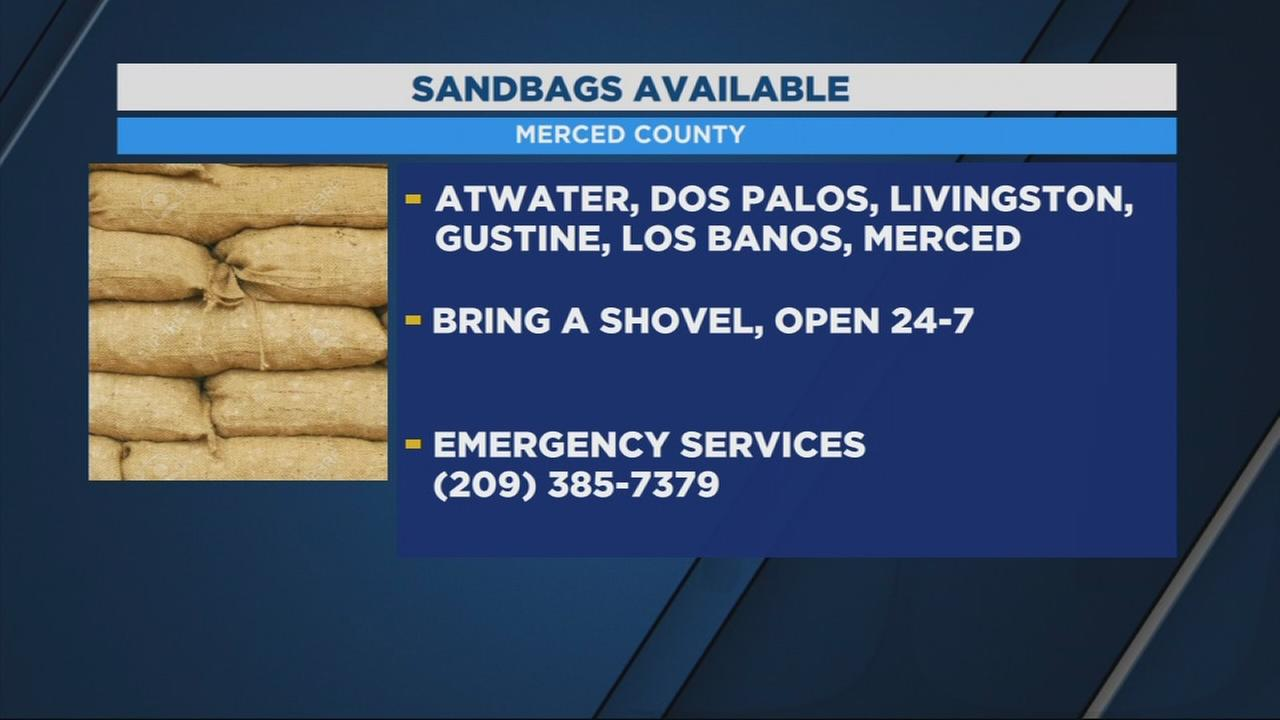 Merced County officials providing residents with sandbags