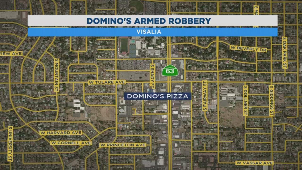 Police search for suspect who robbed Dominos Pizza in Visalia