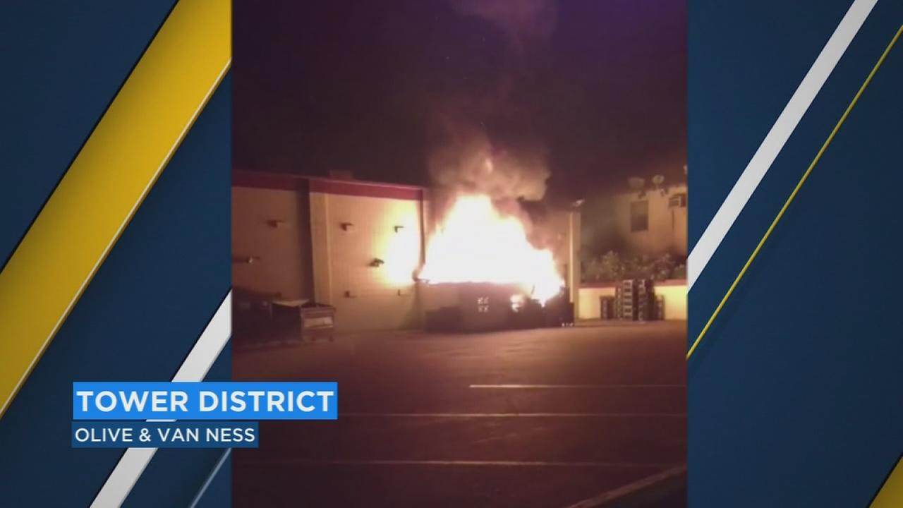Fresno firefighters investigating cause of dumpster to go up in flames