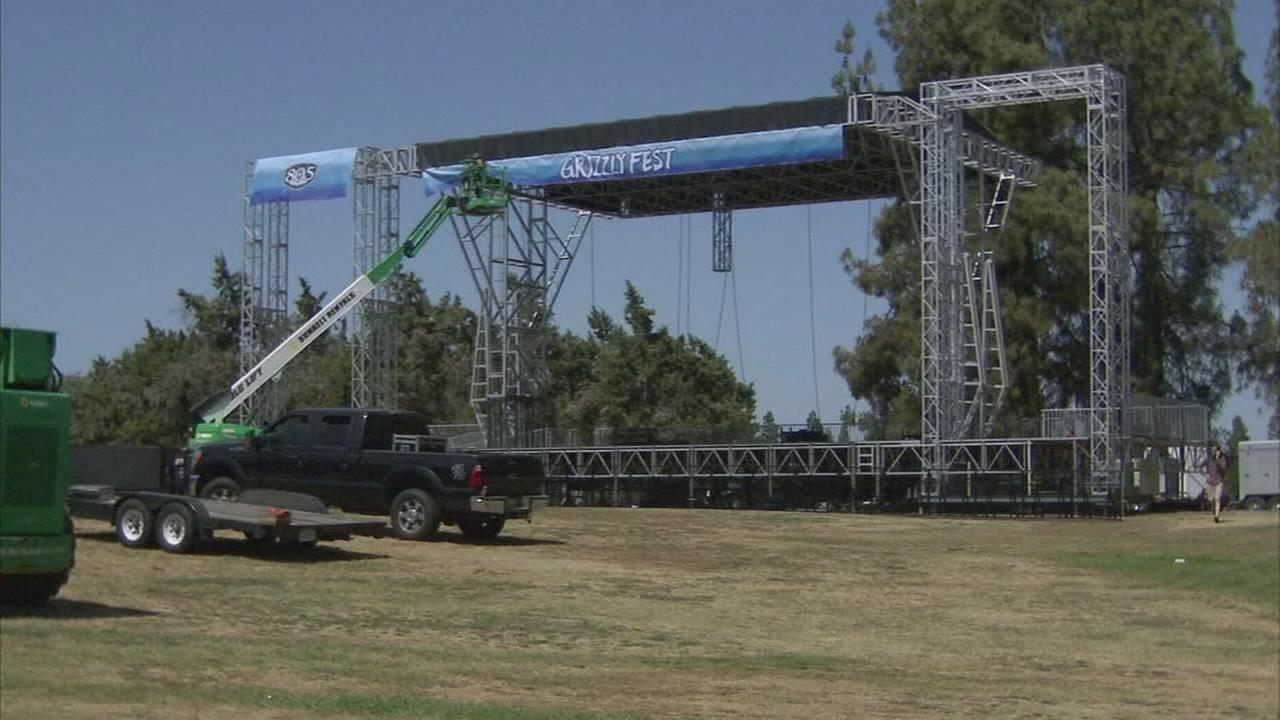 Crews begin setting up for Grizzly Fest