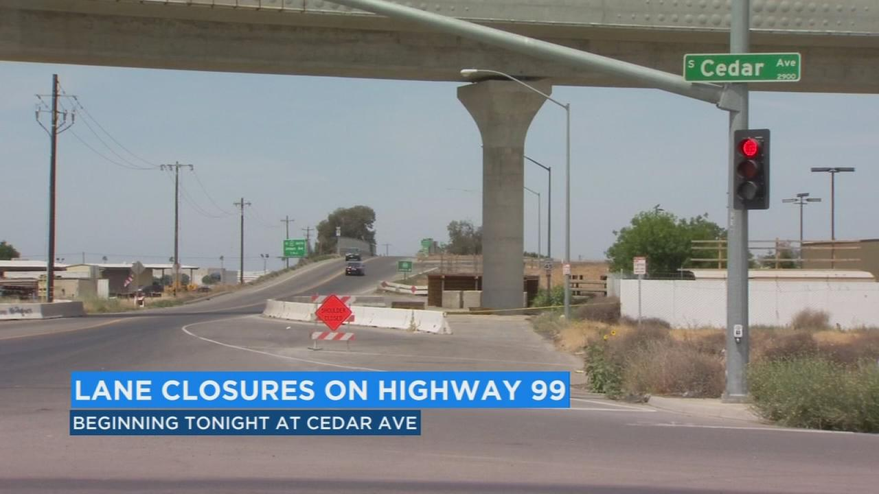 Northbound lanes of Highway 99 to be closed for next 2 days