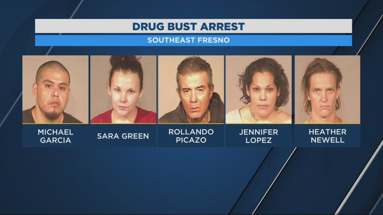 5 people arrested in Southeast Fresno on drug related charges
