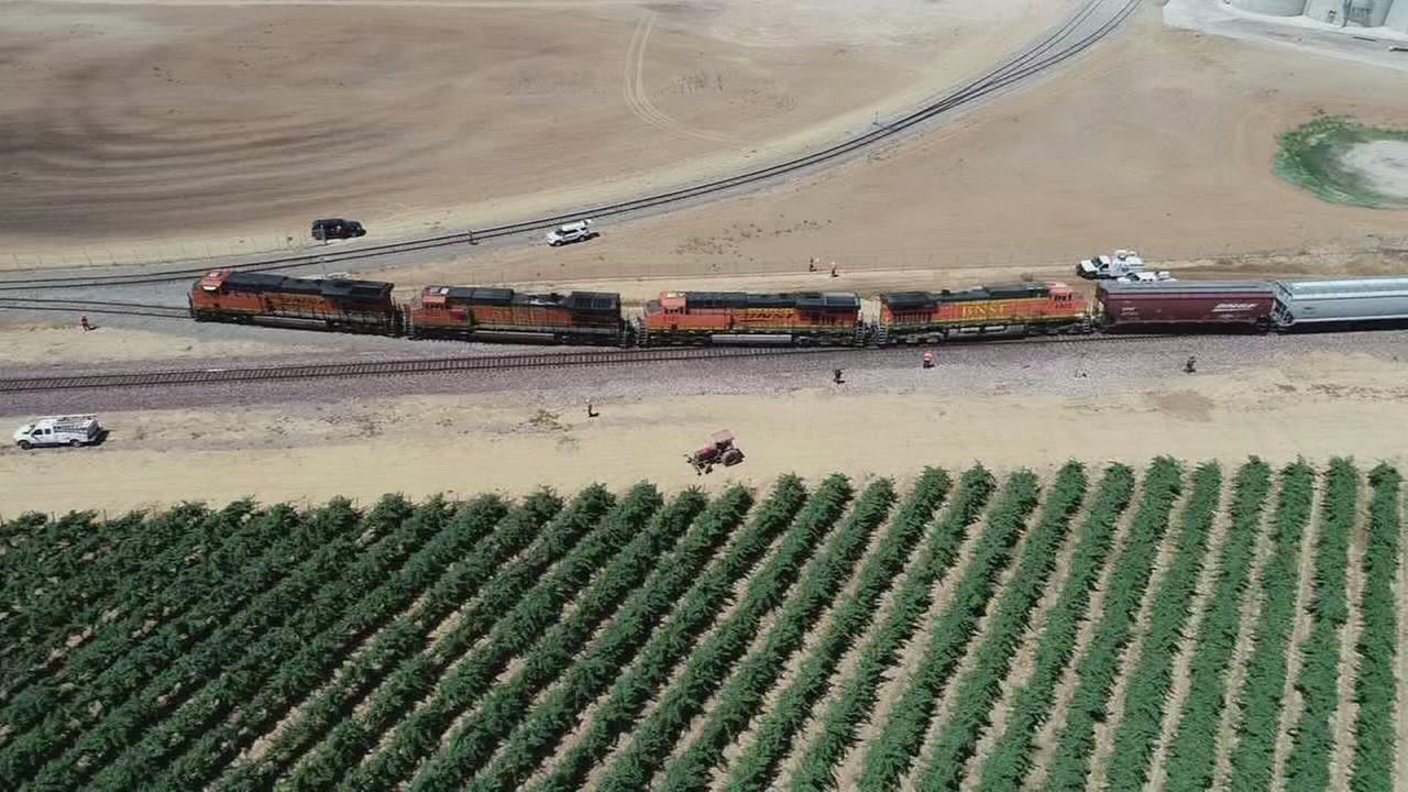 Freight train derails in Madera County