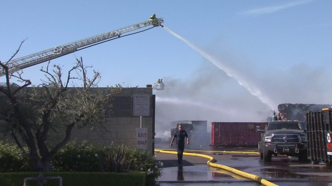 Large fire at Clovis recycling center