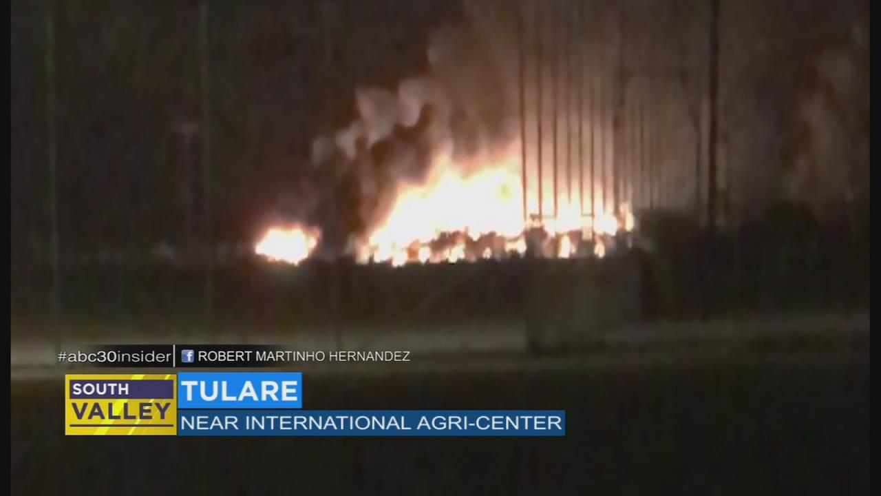 Fire crews battle brush fire near International Agri-Center in Tulare