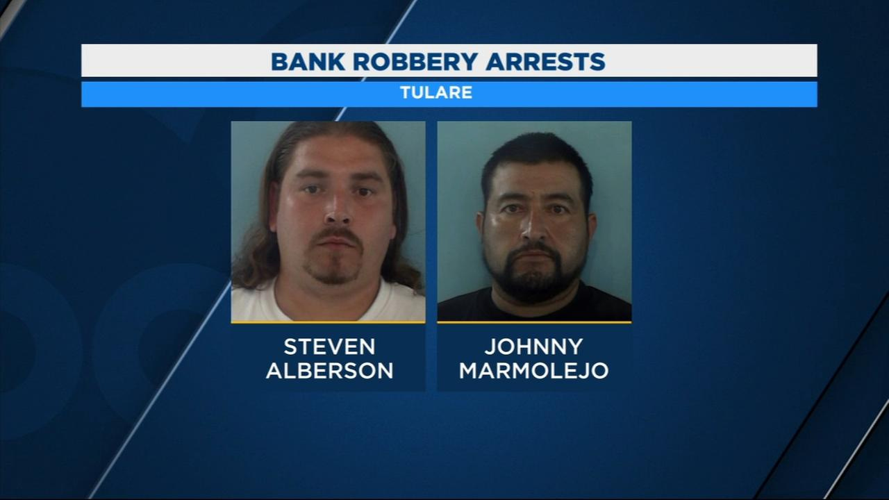 Two men are in custody in connection to a bank robbery in Tulare