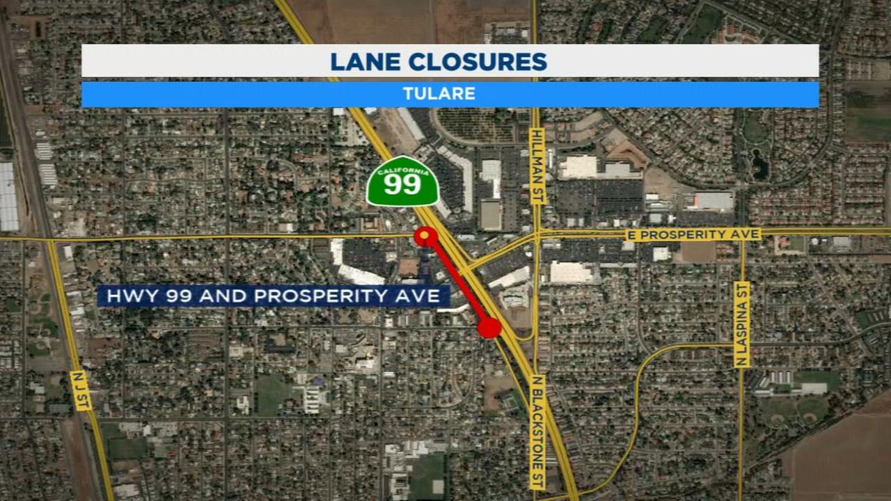 Highway 99 lane and ramp closures for road maintenance