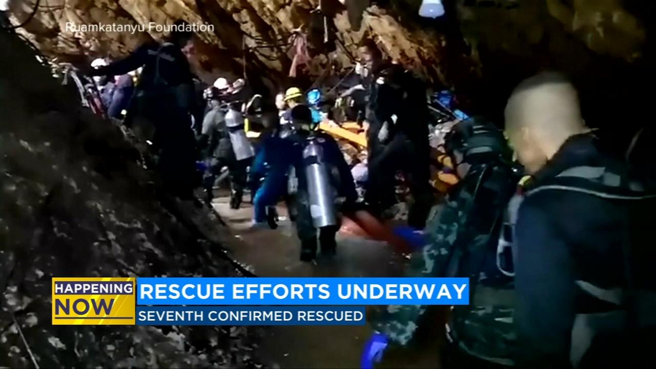 8 soccer team members rescued from Thai cave; 4 boys, coach left to go