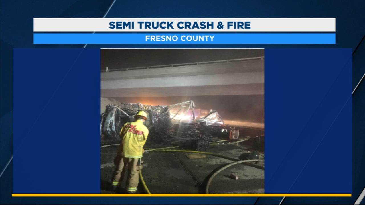 3 people suffer major injuries after semi-truck overturn on I-5 in Fresno County