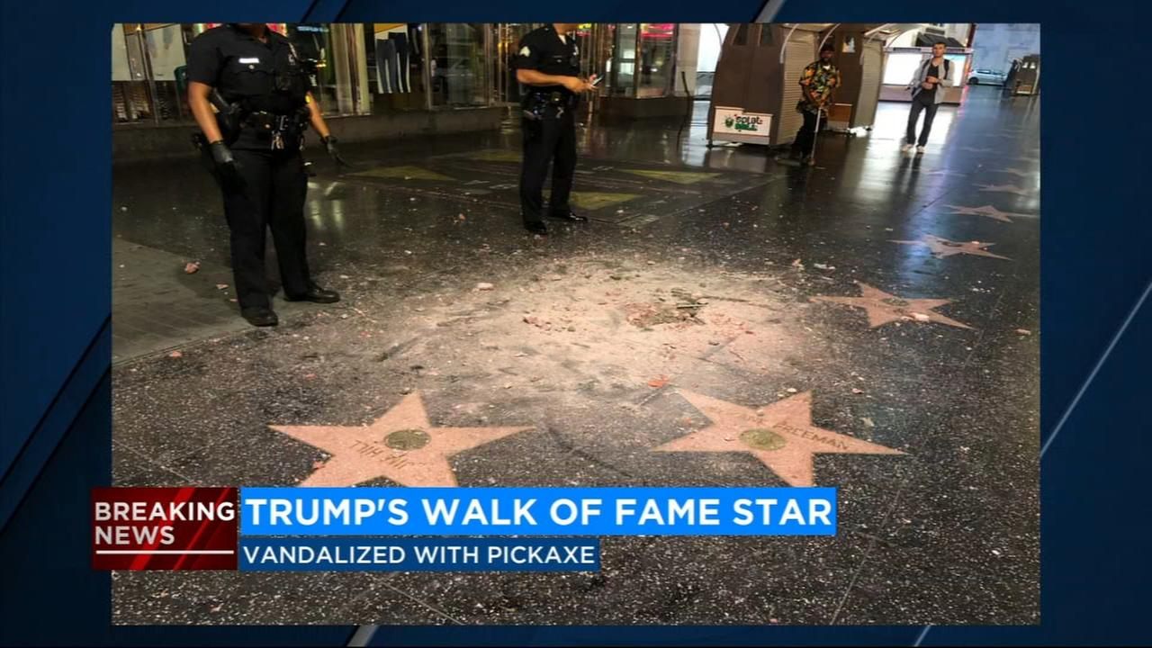 President Trumps star on Walk of Fame vandalized with pickaxe
