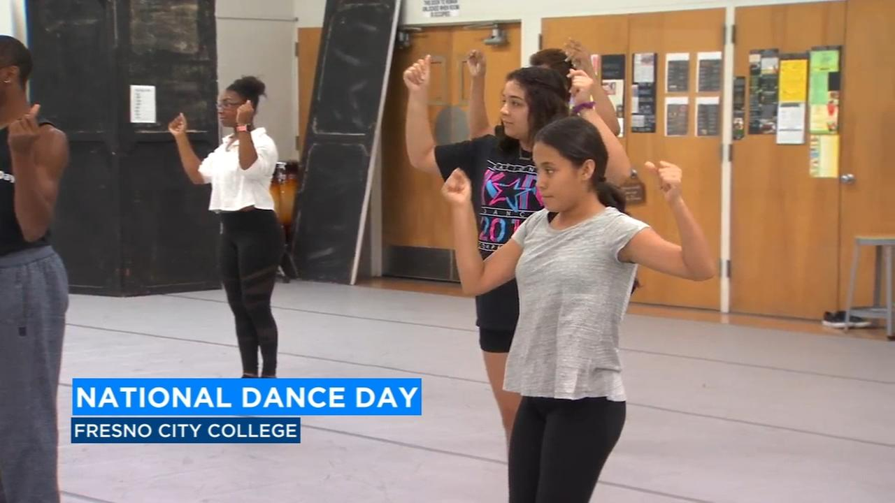 Fresno City College celebrating National Dance Day by teaching others