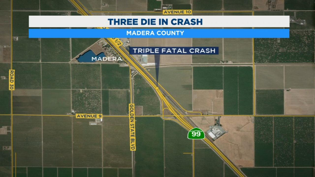 3 killed, 3 injured in crash on Highway 99 in Madera County