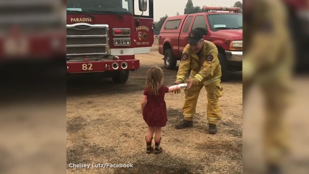Little girl brings burritos and smiles to weary firefighters fighting the Carr Fire