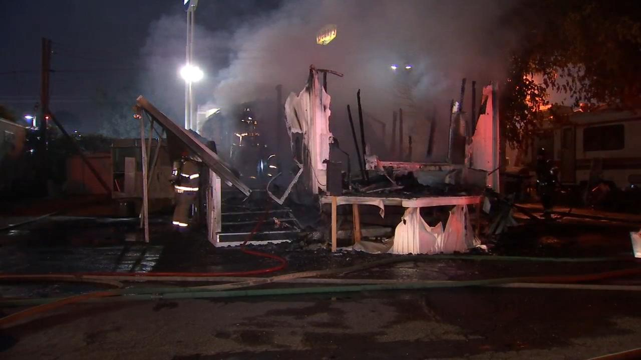 Mobile home destroyed by fire in West Central Fresno