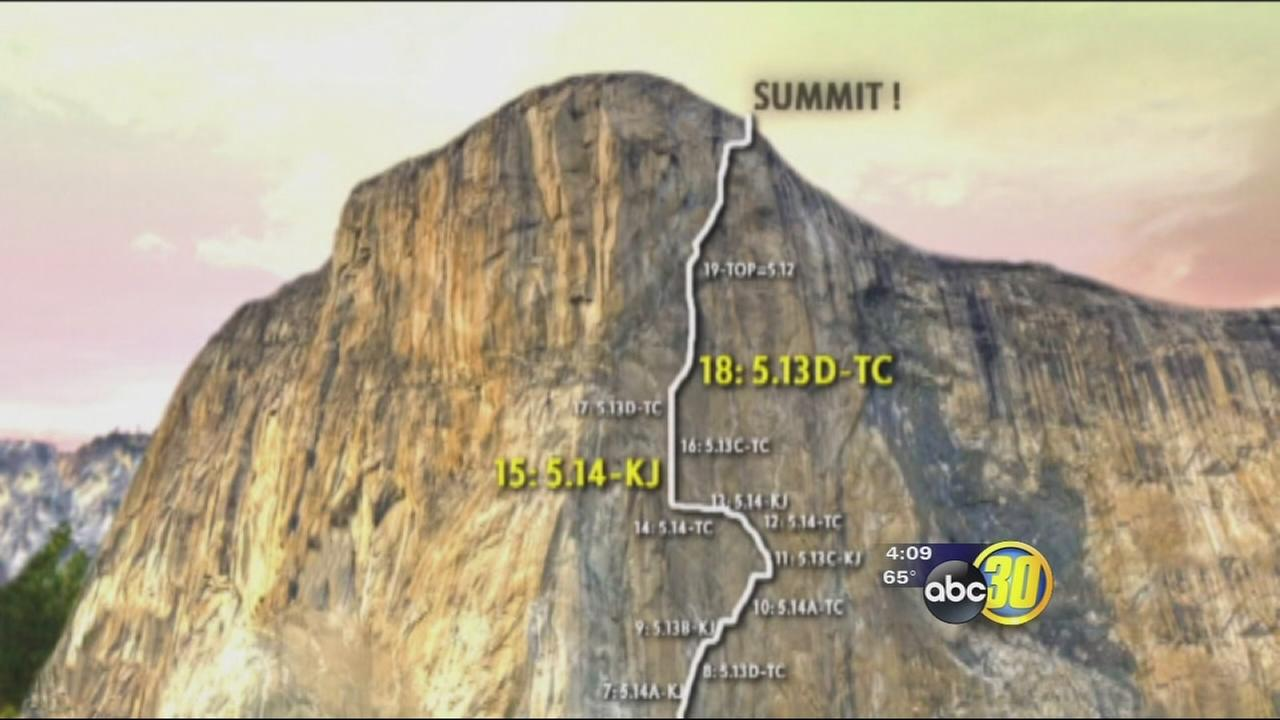 Climber, attempting to break record in Yosemite, has injured hands
