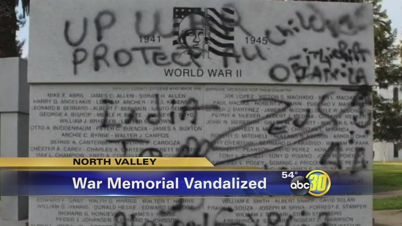 WWII Memorial vandalized in Merced