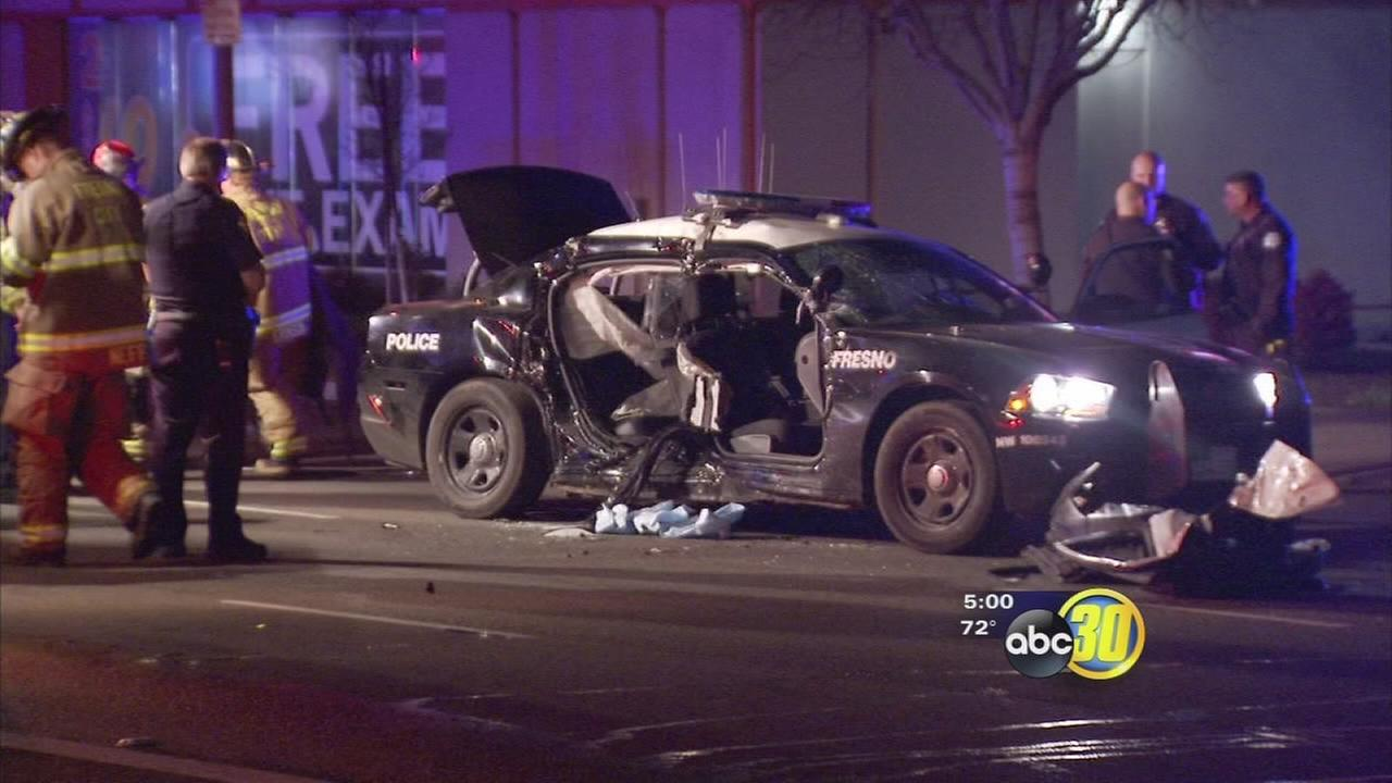 2 Fresno PD officers hurt when SUV hits police car