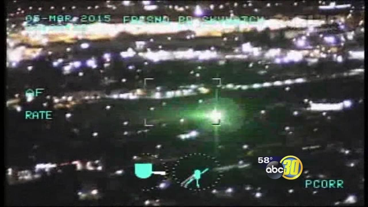 VIDEO: Laser pointed at cockpit of Fresno police helicopter