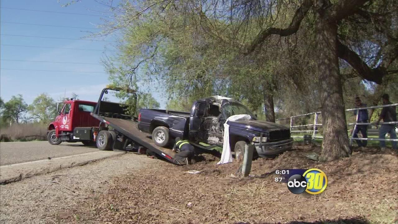 1 dead after truck hits tree in Fresno County