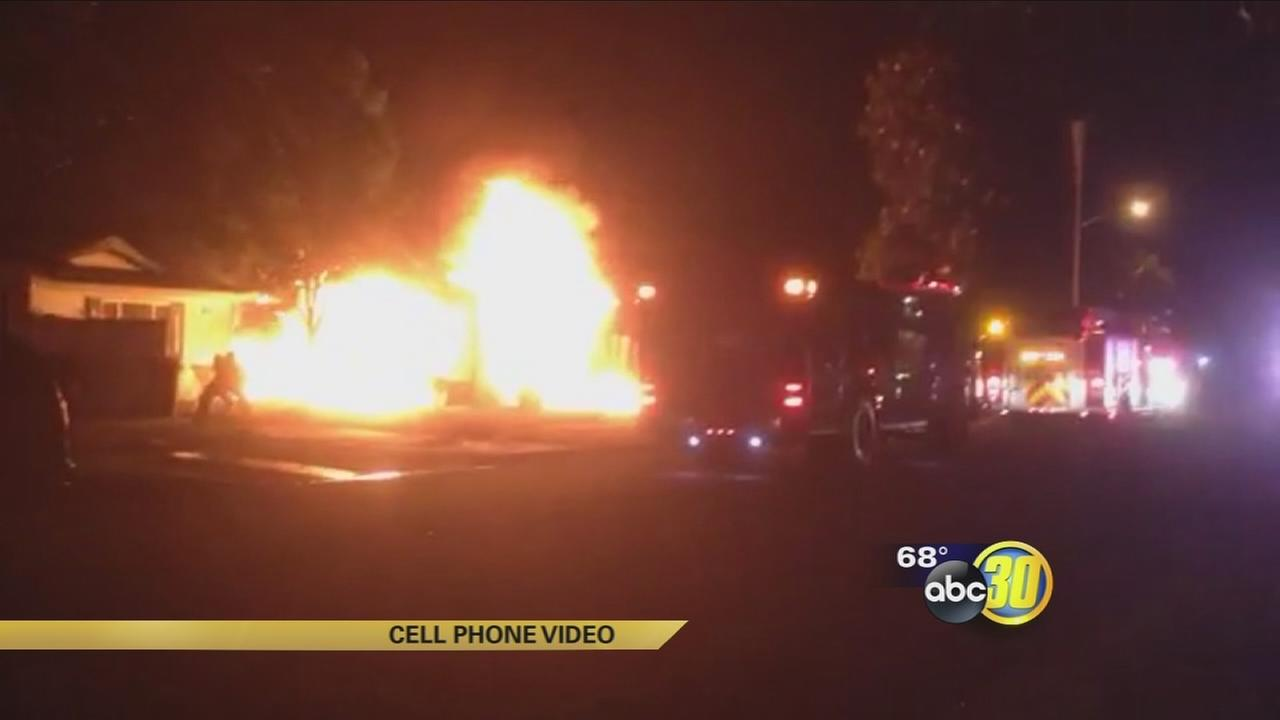 Blaze destroys house in Northeast Fresno