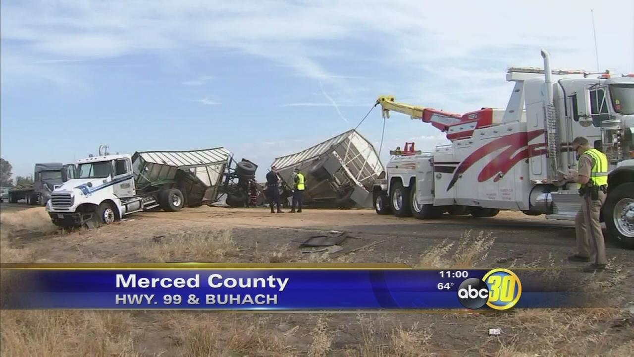 Highway 99 reopens near Atwater following big rig crash