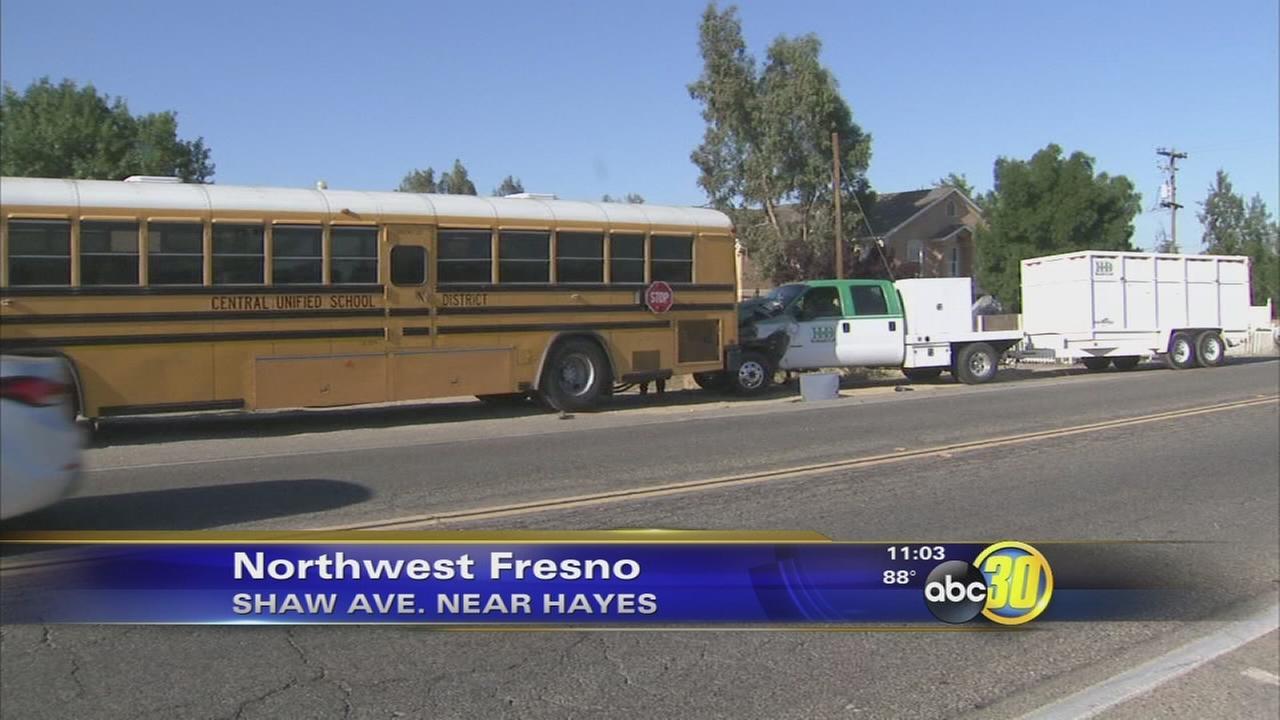 School bus rear-ended by truck in Northwest Fresno