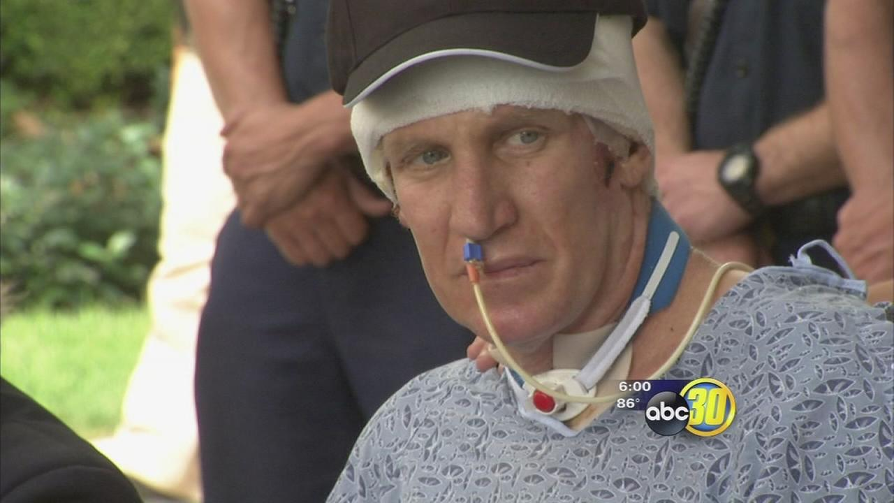 Fresno Fire Captain, burn victim Pete Dern provides inspiration in first public appearance since roof collapse