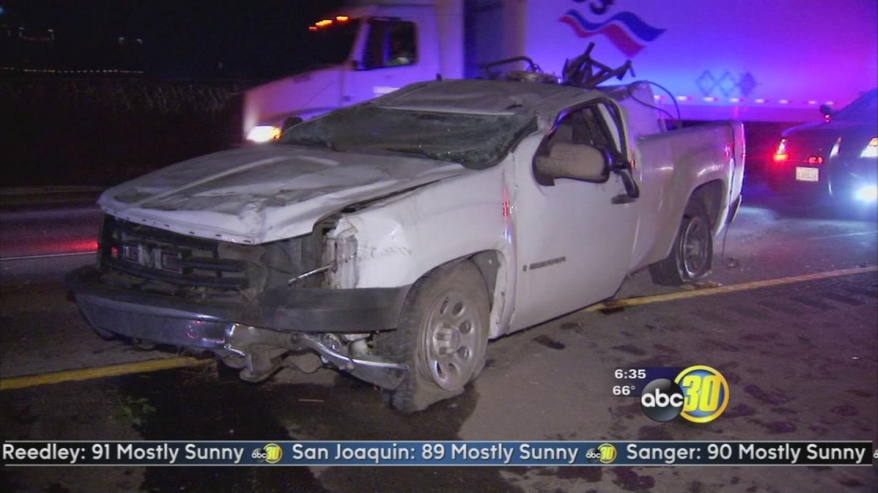 Truck crashes into underside of Freeway overpass near Malaga