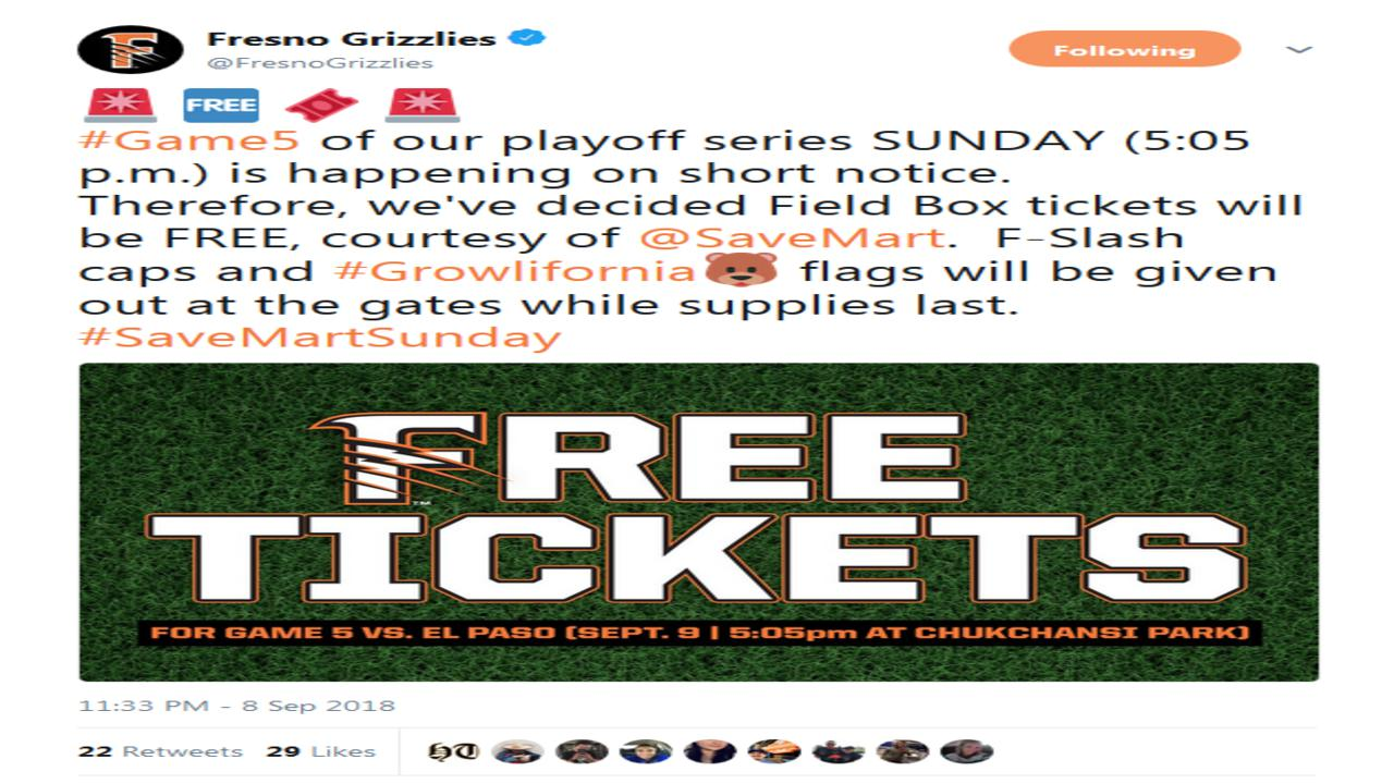 Free to see Fresno Grizzlies do-or-die playoff game Sunday