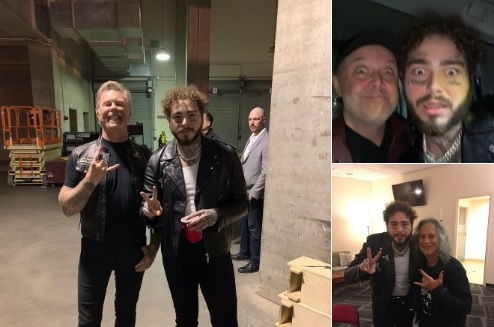 Rapper Post Malone tweeted out pictures of him with Metallica band members after their concert in Fresno last weekend.
