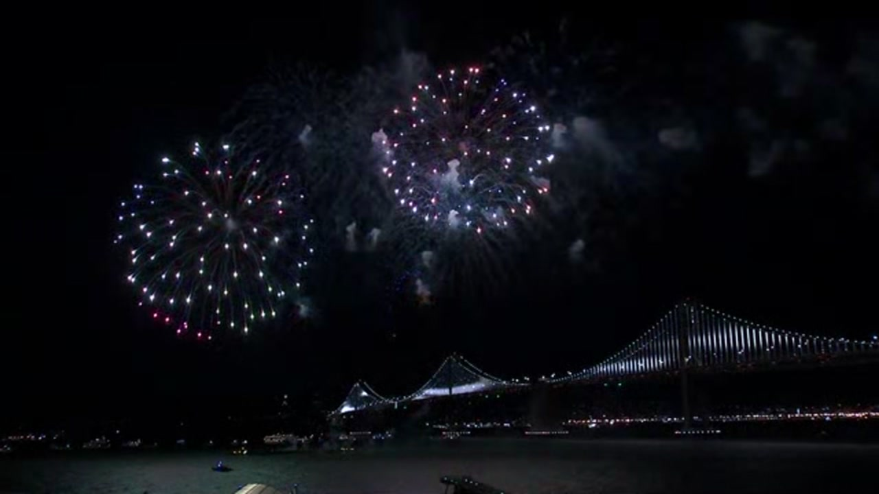 Fireworks over San Francisco Bay on January 1, 2019