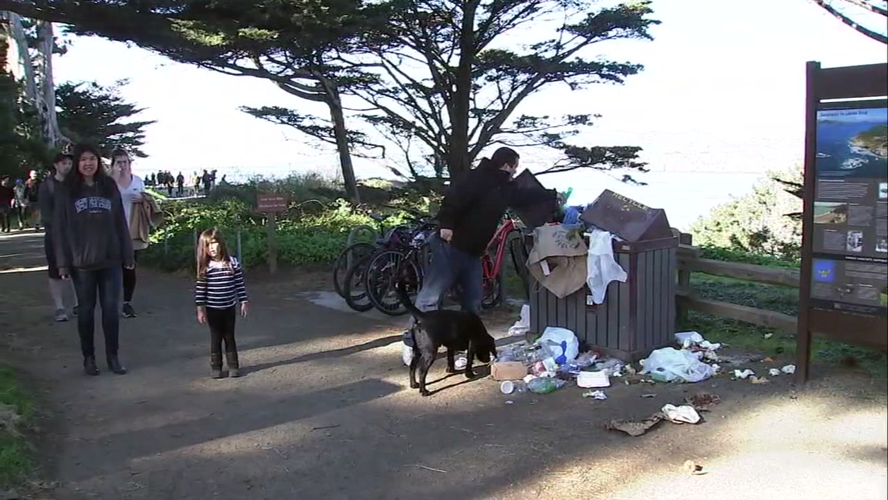 Trash overflowing at Golden Gate National Recreation Area.