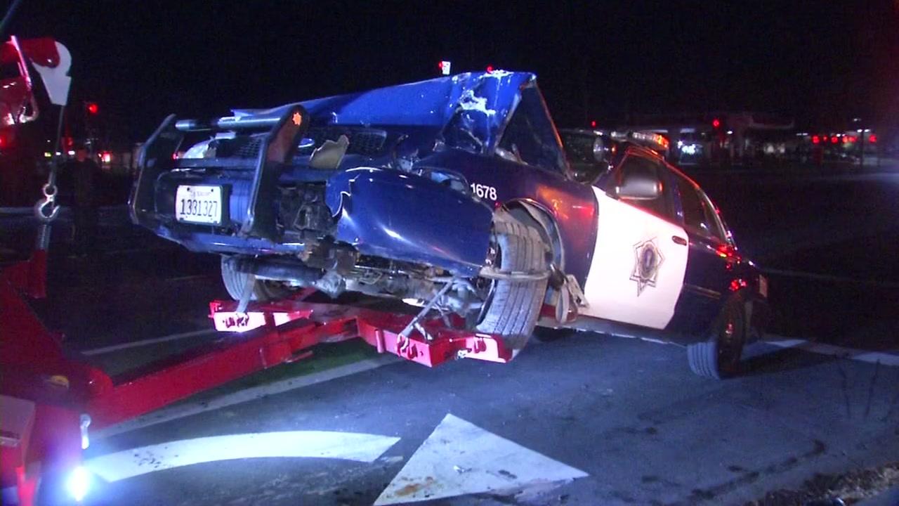 Police car accident scene in San Jose, California on Wednesday, January 2, 2019.