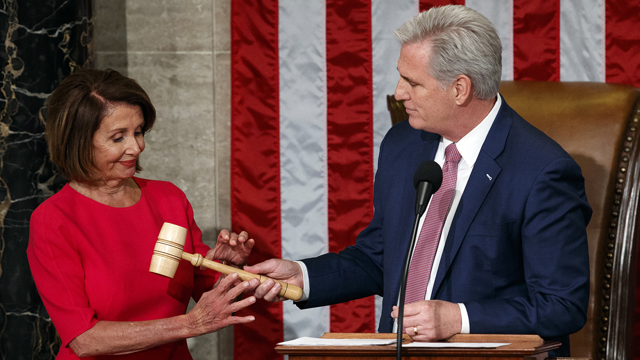Nancy Pelosi of California takes the gavel from House Minority Leader Kevin McCarthy, R-Calif., after being elected House speaker in Washington, Thursday, Jan. 3, 2019.