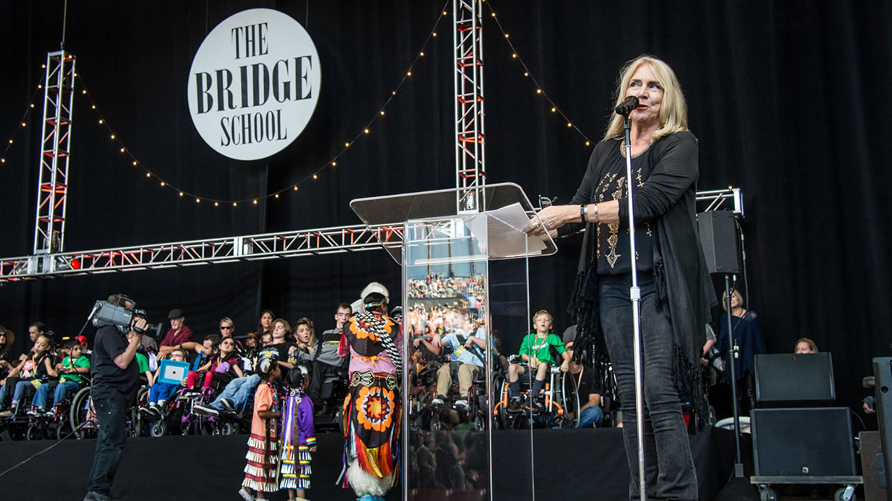 Pegi Young speaks at the 30th Annual Bridge School Benefit Concert at the Shoreline Ampthitheatre on Sunday, Oct. 23, 2016, in Mountain View, Calif.