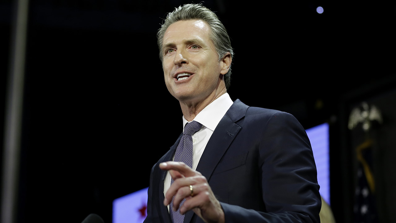 Lt. Gov. Gavin Newsom, a Democrat, addresses an election night crowd after he defeated Republican John Cox to become the 40th governor of California Tuesday, Nov. 6, 2018, in Los Angeles. (AP Photo/Rich Pedroncelli)