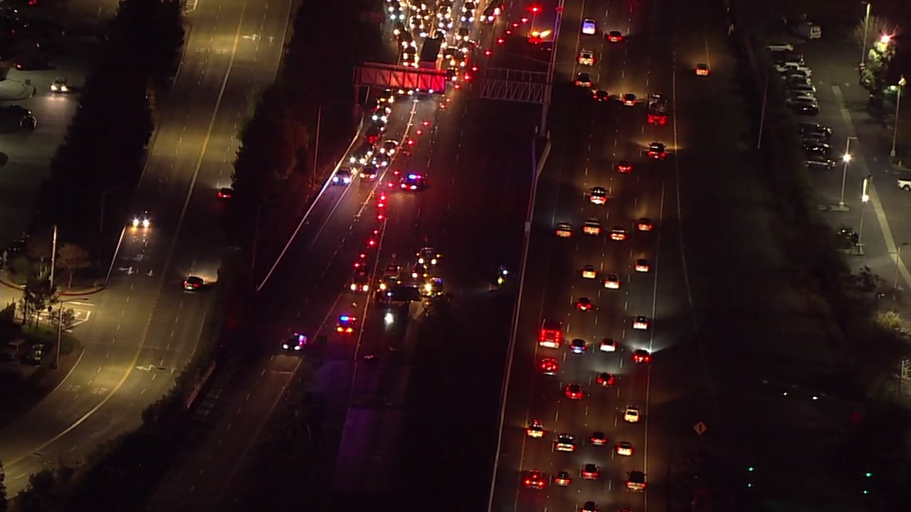 Sky7 over accident on I-880 in Fremont, California on Friday, January 4, 2019.